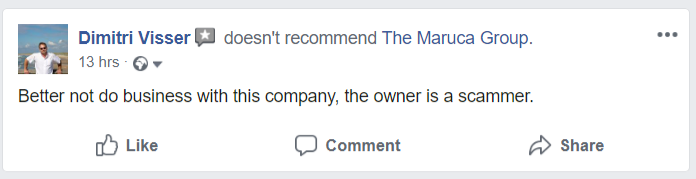The Maruca Group: Better not do business with this company, the owner is a scammer.