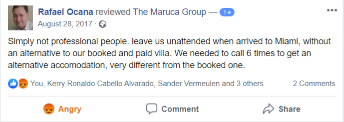 The Maruca Group: Simply not professional people. leave us unattended when arrived to Miami