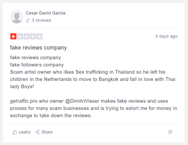 Cesar David Garcia - The Maruca Group - After threatening to harass underage children of reviewers...